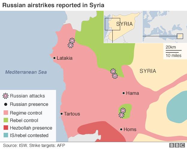 Russische luchtaanvallen 30-09-2015 volgens BBC
