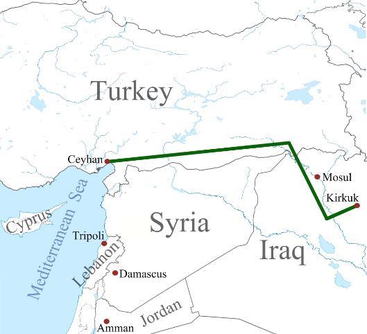 Oliepijpleiding op wielen van Kirkoek naar Ceyhan